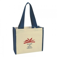 Two-Tone Canvas Tote Shopper Bags